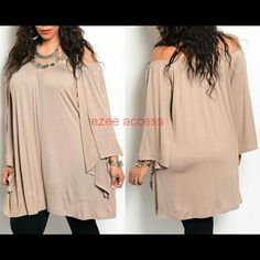 """Plus size tunic top blouse on off shoulder long Brand New without tags! Plus size tunic top blouse shirt Oversized loose fit. Can be worn both ways on or off the shoulders. Stretchy fabric. RAYON + SPANDEX   Elastic neckline Batwing sleeves length 17"""" total length: 33"""" More colors are also availabe :) Boutique  Tops Tunics"""