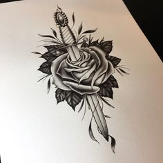 #dagger and #rose #drawing. #tattoo flash by Neil Ohmie. @neilohmie on Instagram.