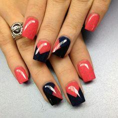 peach and black nails