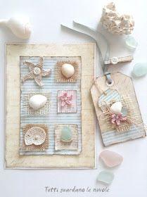 Card e Tag chiudipacco a tema marino. Summer, Sea, Scrapbooking, Paper, Shell, Crochet, Biglietti, Sea Glass