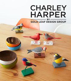 Charley Harper, Gold Leaf Design Group - bird sculptures
