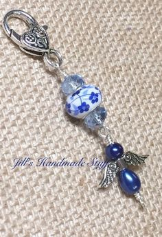 Beaded Zipper Pull- Zipper Charm- Blue Angel Key Chain Charm- Purse Charm- Wallet Charm- Purse jewelry, Necklace Pendant