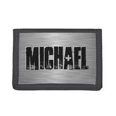 Personalized Name Custom Trifold Wallet, Men's, Size: TriFold Nylon Wallet, Black White Highlights, Rocker Chick, Online Gift Shop, School Readiness, Black Wallet, Rock And Roll, Names, Grunge, Words