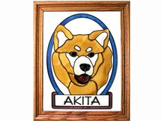Akita Dog Hand Painted Stained Glass Art