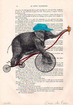 Acrylic paintings Illustration Original Prints Drawing Giclee Posters Mixed Media Art Holiday Decor Gifts: Circus elephant. $10.00, via Etsy.