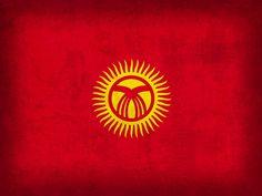 Kyrgyzstan Flag Vintage Distressed Finish Mixed Media