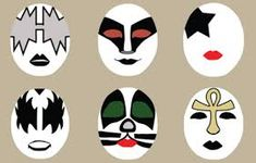 Makeup Stencils, Face Painting Stencils, Adult Face Painting, Kiss Painting, Face Painting Designs, Pebble Painting, Rock Painting, Kiss Face Paint, Kiss Halloween Costumes