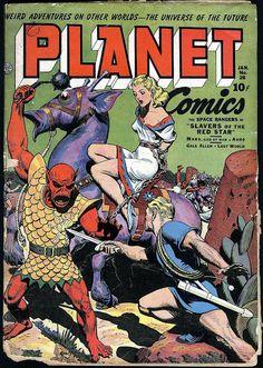 Planet Comics #28 (Jan '44) cover by Joe Doolin