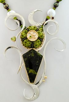 green satellite floater necklace - barbara umbel jewelry design