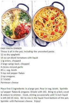 THE BEST ONE POT PASTA…. Had my 4 yr old put everything in the pot. i didnt have the veggie broth so i used chicken broth and it came out great. EASY PASTA DINNER – delicious & easy – I added a can of sliced mushrooms Pasta Dishes, Food Dishes, Pasta Meals, Tomato Basil Pasta, Great Recipes, Favorite Recipes, Good Food, Yummy Food, Tasty