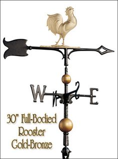 "Whitehall Rooster 30"" Full Bodied Weathervane Ships in 1 Day Roof Weather Vane…"