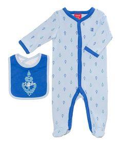 Look at this #zulilyfind! Powder Blue Anchor Footie & Bib - Infant by IZOD #zulilyfinds