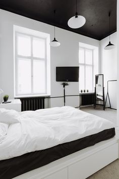 interior, Black Bedroom Ceiling Pendant Lamp White Wall Glass Window Design Ideas Comfortable Bed Mirror Cream Fur Rug White Table Lamp White Chest Of Drawer White Bedroom Colour White Interior Bedroom Decoration: Extraordinary Black and White Interior Design Ideas for Apartment