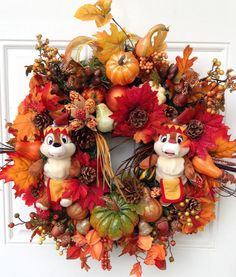 Chip and Dale Thanksgiving Fall Wreath by SparkleForYourCastle, $179.00