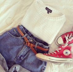 red converse with white sweater