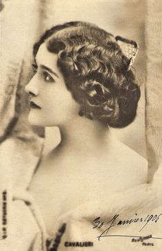 https://flic.kr/p/dsgf5U | Lina Cavalieri | French postcard by S.I.P., 50th series [?]. Photo: Reutlinger, Paris. Signed 30 January 1906.  Around 1900, Italian soprano Lina Cavalieri (1874 - 1944) was considered: the most beautiful woman on earth. In the 1910s she pursued a career in silent cinema in Italy and the United States.  For more postcards, a bio and clips check out our blog European Film Star Postcards.