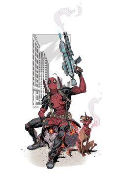 Deadpool vs sentinel by Dan Mora, via Behance