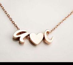 Harfli kalpli kolye