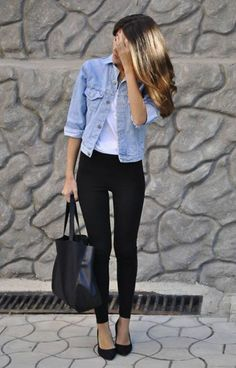 black pants, white shirt, open denim shirt/jacket, black heels