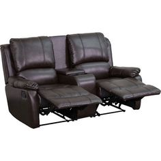 Avery Theater Series 2-Seat Reclining Pillow Back Brown Leather Theater Seating