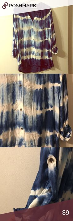 Linen tie dye button down top Beautiful hand dyed top! Blue in my favorite color! Mint condition. Never worn. Wanted to but never fit right. Is meant to be flow like but runs a bit small. Cato Tops Button Down Shirts