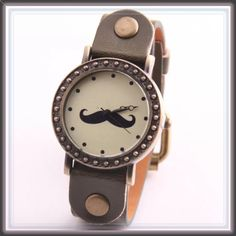 "Retro vintage brown mustache watch ➖BAND LENGTH and WIDTH: 9"" x 0.7""  ➖FACE DIAMETER: 1.5"" wide Entropy Accessories Watches"