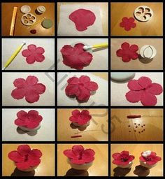 Flower tutorial using cutter Hibiscus Flowers, Sugar Flowers, Tropical Flowers, Flower Petals, Paper Flowers, Fondant Rose, Fondant Flowers, Fondant Cakes, Fondant Flower Tutorial