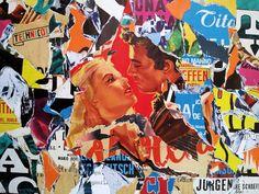 Umberto Alizzi La dama e il cavaliere décollage 80x60 cm manifesto cinematografico ginevra e il cavaliere di re artù vintage movie poster collage fine art pop art street art urban art