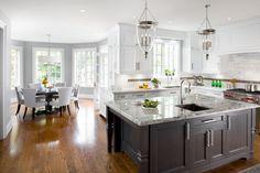 dual toned kitchen, pendants over island