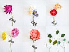 Whether for Mothers Day, a wedding, a special gift, or just because, this felt floral bouquet will brighten anyones day! No need for watering, these felt flowers will bloom forever.  :: Size ::  Approximately 9 diameter, 11 high Comprised of 12 flower stems & 9 greenery stems  :: Features ::  Ranunculus :: strawberry & guava colored felt Cabbage rose :: coral colored felt Tea roses :: butter & foxglove colored felt Dahlia :: fuschia colored felt Wildflowers :: linen, peach, violet...