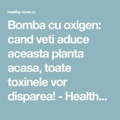 Bomba cu oxigen: cand veti aduce aceasta planta acasa, toate toxinele vor disparea! - Healthy Zone Good To Know, Natural Remedies, Health Fitness, Healthy, Front National, Herb Garden, Pandora, House, Medicine