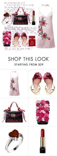 """pink rose, black hot"" by kotovasveta ❤ liked on Polyvore featuring WithChic, Miu Miu, Gucci, Kate Spade, Lancôme and Bella Freud"