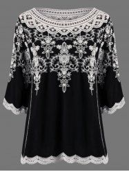 Cutwork Embroidery Scalloped Edge Peasant Blouse - BLACK ONE SIZE Mobile