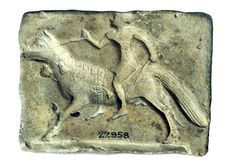 Terracotta mould of man on horseback, Old Babylonian, Mesopotamia 2000-1600 BC. One of the oldest known depictions of horse riding in the world. British Museum ME22958
