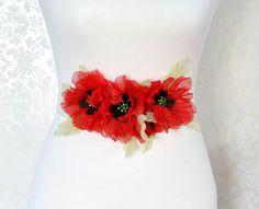 Red Poppy Bridal Sash Red Bridal Sash by BridalSashbyNatalie