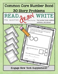 **Updated 2/27/2016**Want to try one out for free? Download the preview file!This collection of story problems was created to supplement the Engage New York curriculum.  It is aligned to CCSS for first grade and provides extra practice with word problems.After reading the word problem, students will draw a picture, create a number bond, write the number sentence, and then write the answer.Included in this set are 30 different problems, 15 in which students solve for the sum and 15 in which…