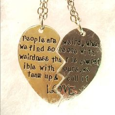 Two Weird People Meet & Call it Love 2PC necklace New handstamped. When you find your fellow weirdo, you tend to stick together!❤️❤️We sell out of our weirdo love necklace set faster than we can stock them! Material is brass alloy. Shiny silver tone Jewelry Necklaces