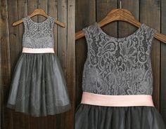 Grey Lace Tulle Flower Girl Dress with Ivory/Champagne/Pink Sash Wedding Children Easter Bridesmaid Communion Baptism Dress