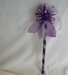 Wedding flower Wand Purple silver Glittery Fairy by AmoreBride, $25.95