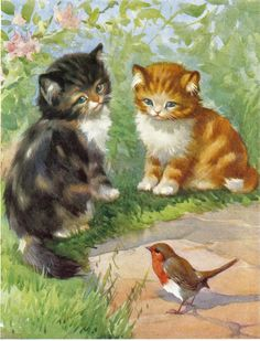 """1950s childrens print of kittens watching a robin 10"""" x 8"""" total size"""