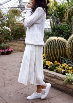 Sweater + Pleated Maxi Skirt + Sneakers