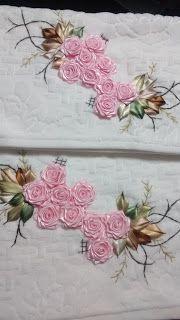 LOY HANDCRAFTS, TOWELS EMBROYDERED WITH SATIN RIBBON ROSES: Conjunto tolhas bordadas de flores de fitas em cet...