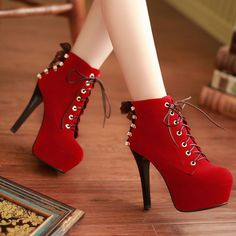 Winter Round Toe Stiletto High Heel Lace Up Short Buckle Red Suede Martens Boots on Luulla
