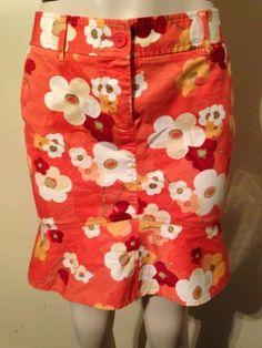 Womens Ann Taylor LOFT Petite Size 4 4P Orange Floral Retro Mod Print Skirt $19.99 #anntaylor #loft #floral #springtime