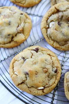 Hazelnut Toffee Chocolate Chip Cookies-soft and chewy chocolate chip cookies filled with chopped hazelnuts and sweet toffee pieces.