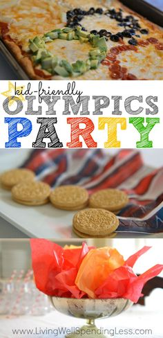 Don't miss these awesome ideas for a simple Olympics party, including  super easy decorations and kid-friendly food such as Olympic ring pizza,  Oreo medals, and torches made from Cheetos. So cute! via @lwsl #olympics #olympicparty #kidpartyideas #livingwellspendingless