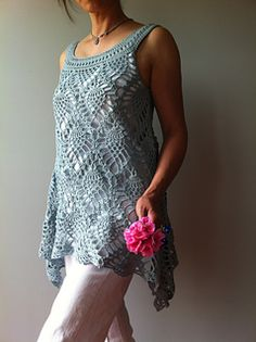 Vicky Chan's Jordan, a sleeveless pineapple top to crochet. buy via Ravelry. An asymmetrical hem. forgiving shape, worked in one piece from yoke down