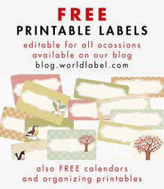 Tons of FREE PRINTABLE LABELS at blog.worldlabel.com for All Ocassions: pantry labels, bottle labels, vintage labels, Christmas labels and tons and tons more.... #labels #printablelabels #worldlabel