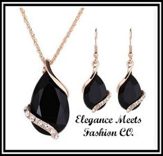 BLACK CRYSTAL WATER DROP JEWELRY SET. Starting at $1