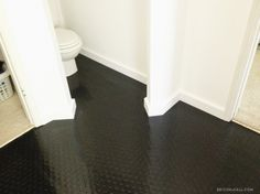 Rubber flooring after baseboard installation | EmilyMcCall.com